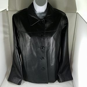 Womens JG HOOK Black Button Down Leather Jacket M